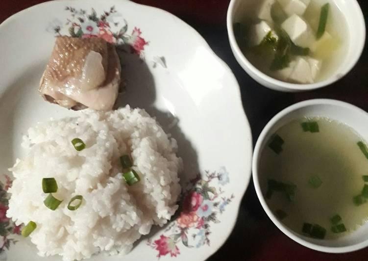 Nasi ayam hainan ricecooker simpel + sup tahu putih