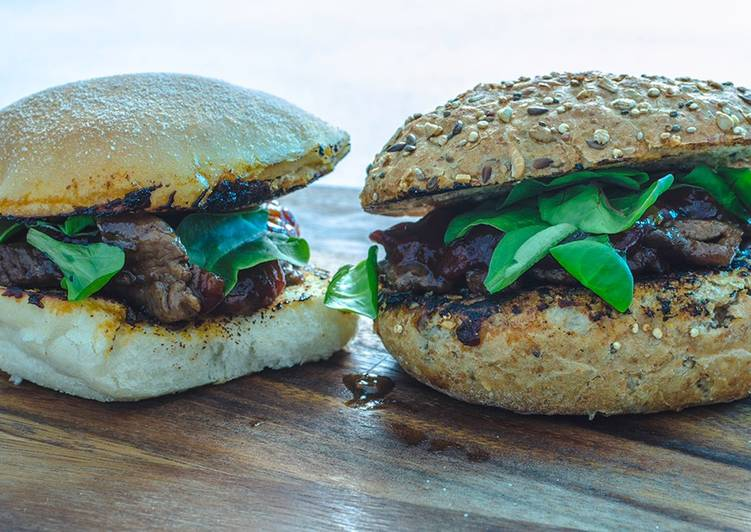 Simple Way to Prepare Favorite Sirloin Steak sandwich with Pickled Gherkins & Red Onion barbecue sauce