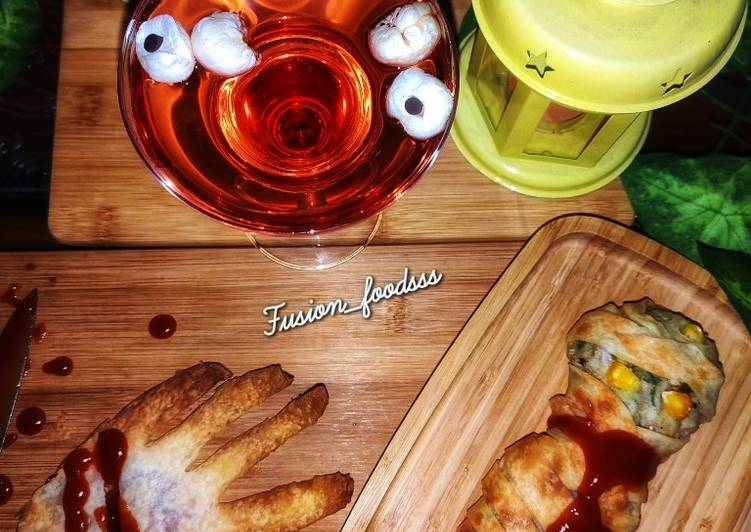 25 Minute Easiest Way to Make Homemade Mummy kabab wrapped, hand garlic toast and eyeball punch