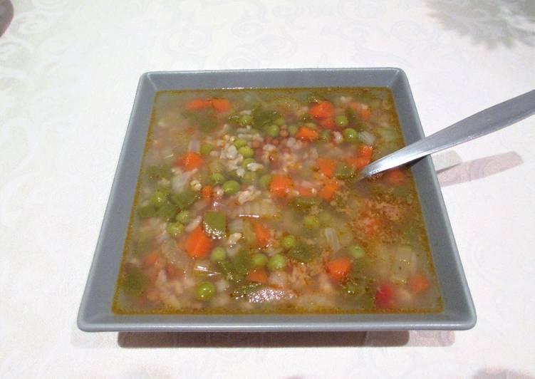 lentejas con arroz integral y verduras