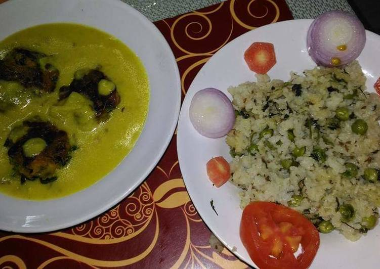Punjabi kadhi with green peas and coriander rice