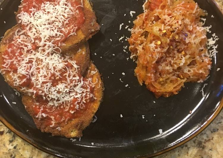 Recipe: Tasty Vegetarian Eggplant Parmigiana With A Side Of Spaghetti Squash Noodles