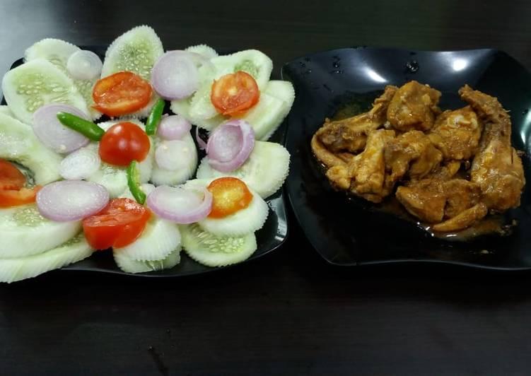 Tandoori chicken with salad