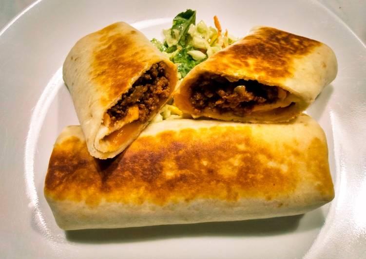 Beef 'n Cheddar burritos