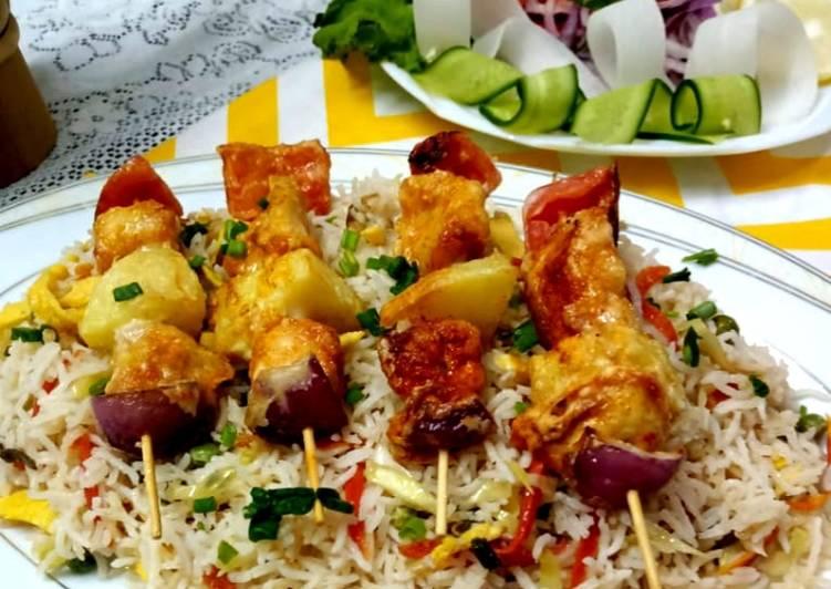 Vegetables fried rice with shashlak steak