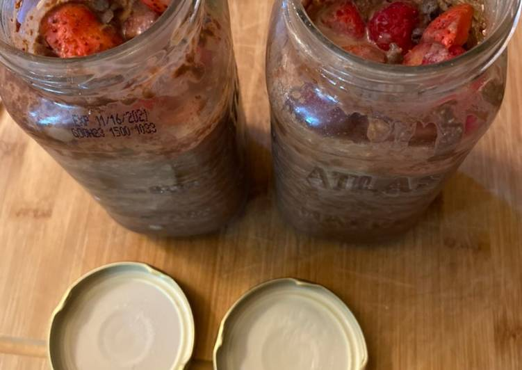 Recipe of Any-night-of-the-week Chocolate covered strawberry overnight oats