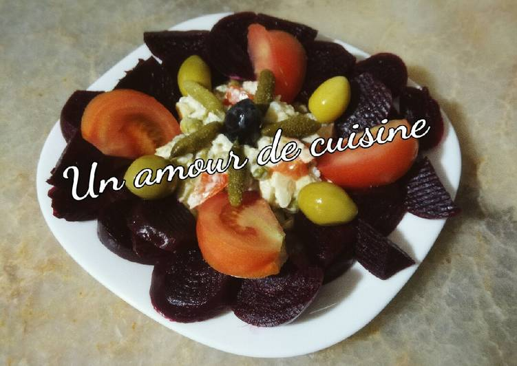 Recette Savoureux Salade de betterave et Macédoine
