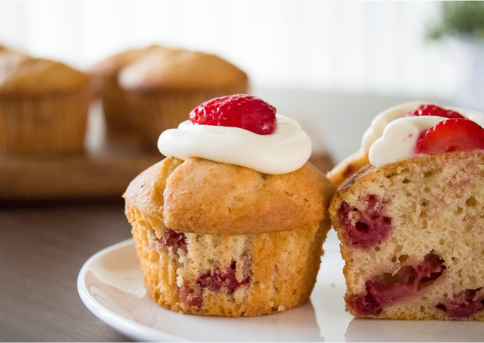 Cream Cheese Topped Strawberry Muffin