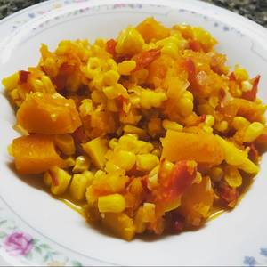 Receta criolla vegetariana. Guiso de calabaza y choclos