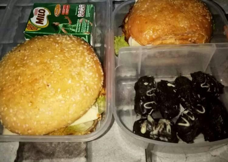 BEKAL SUAMI (Double Egg Burger, Kurma Coklat, Milo)