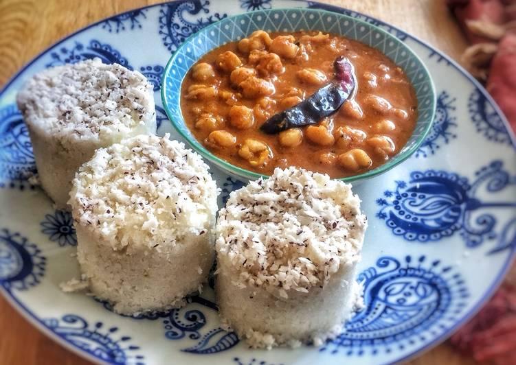 Puttu kadala (steamed rice cake and chickpea curry)Kerala Breakfast
