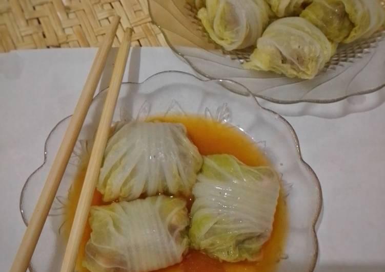 Sawi gulung isi daging