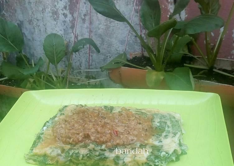 Dadar sawi sambal kacang : rasa sate