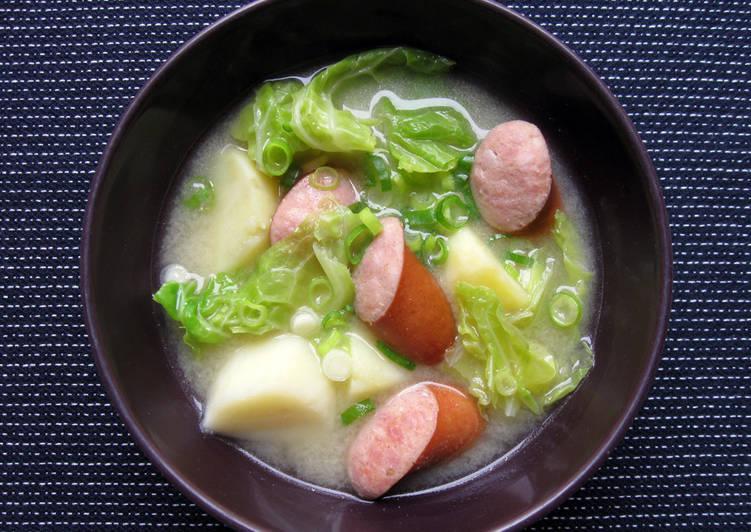 Smoked Sausage, Potato & Cabbage Miso Soup
