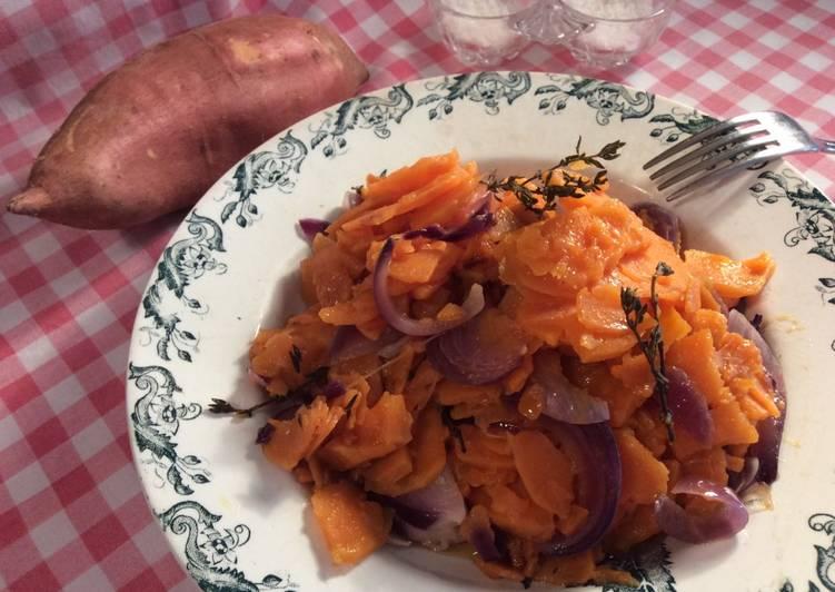 Patate douce 🍠 au thym et aux oignons rouges