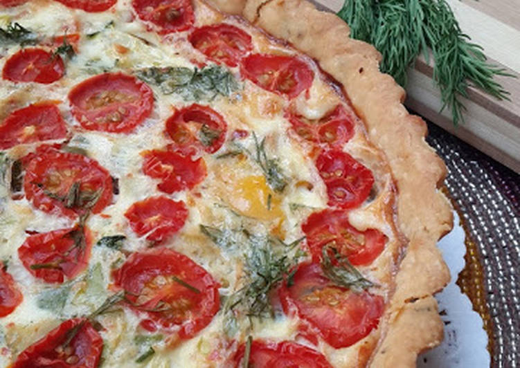Recipe of Any-night-of-the-week Crème fraiche quiche with pesto and veggies