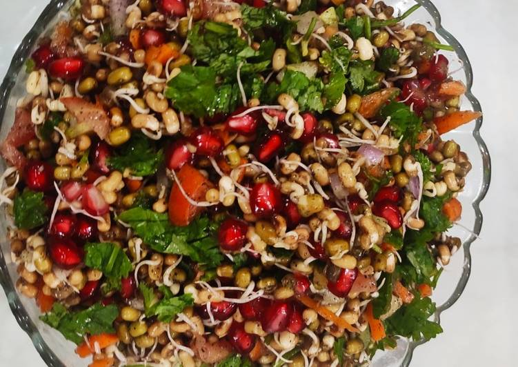 Step-by-Step Guide to Make Quick Mixed sprouts and veggies salad with pomegranates