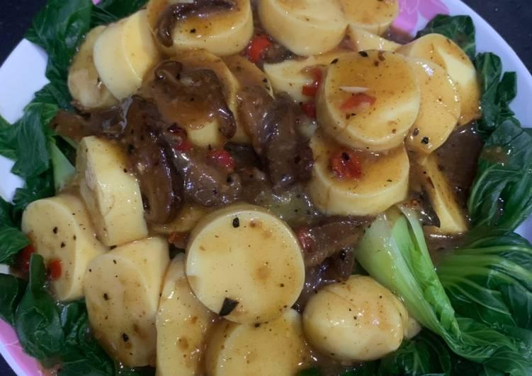 Bokchoy tahu siram saus jamur