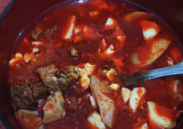Beef Sundubu Jigae (indonesian ingredients)