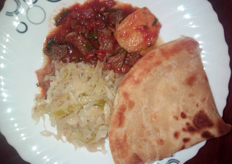 Recipe of Ultimate Beef stew, cabbage and chapati