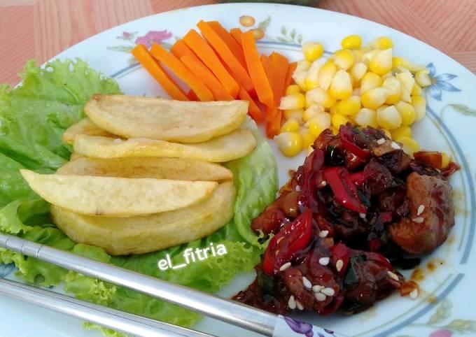 Cara Gampang Membuat 15. Daging Sapi masak Lada Hitam, Menggugah Selera