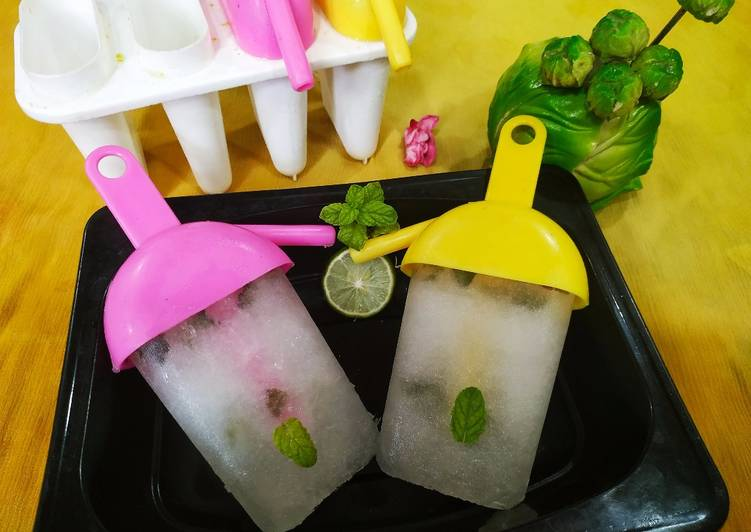 Steps to Prepare Any-night-of-the-week Lemon and mint popsicle