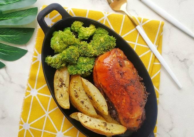 543. Ayam Panggang Teflon + Potato wedges (Menu diet)