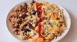 Hình ảnh món (Eatclean) Cà tím phô mai + nấm xào cà chua trứng + cơm chiên trứng