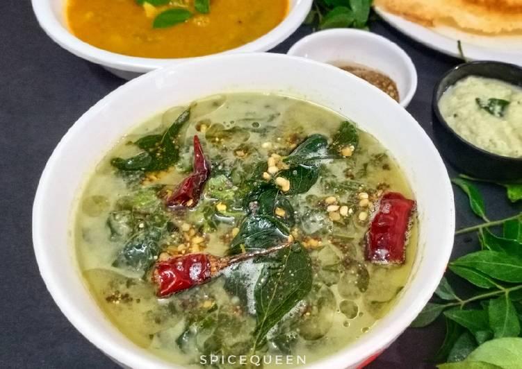 Recipe of Ultimate Harive Soppu Bendi / Amaranth leaves curry
