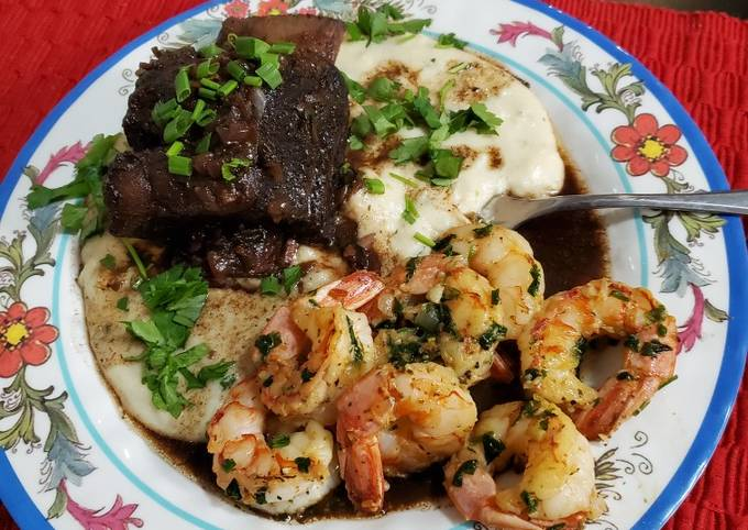 Step-by-Step Guide to Prepare Any-night-of-the-week Brad's Braised Short Ribs w/ Creamy White Polenta & Shrimp Scampi