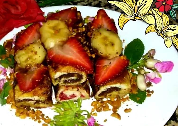 Pain de mie roulé au nutella,fraises,banane