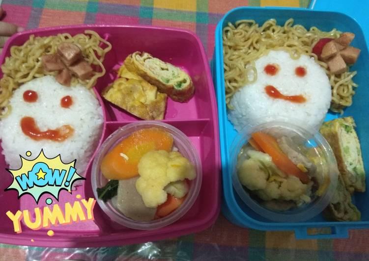 Resep Bekal Anak *NaMiJayung* (Nasi Mie capJay telur gulUng) Paling Enak