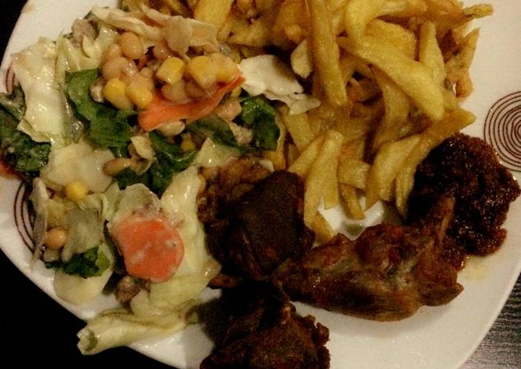 Recipe of Most Popular Chips, salad and grilled chicken