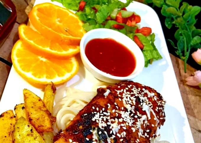 Recipe: Tasty Bbq chicken steak with spaghetti and wedges