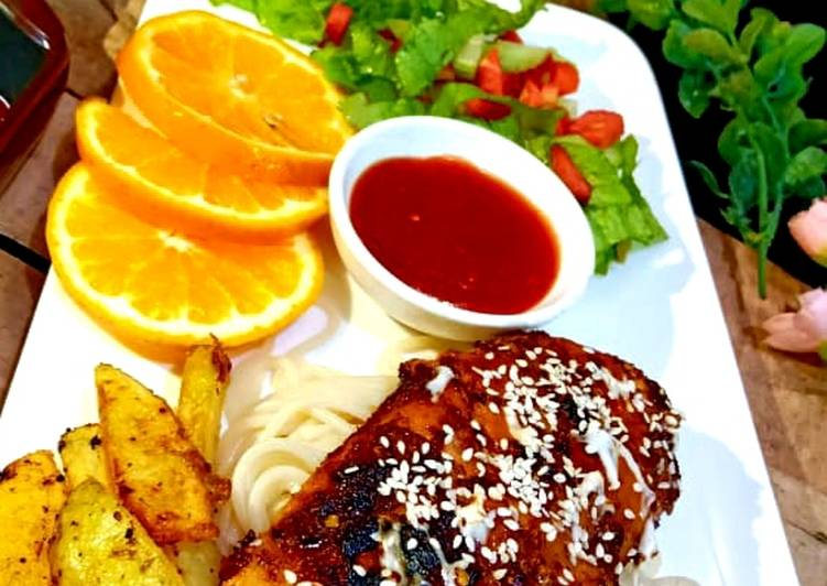 Bbq chicken steak with spaghetti and wedges