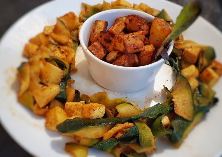 Recette Des Pâtes de courgettes au tofu et pommes de terre sautées