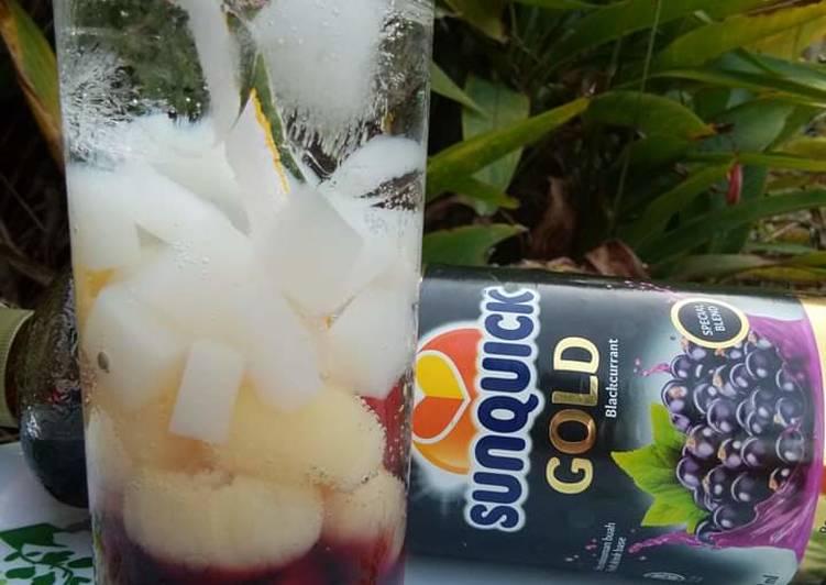 Minuman sunquick blackcurran soda longan - resepipouler.com