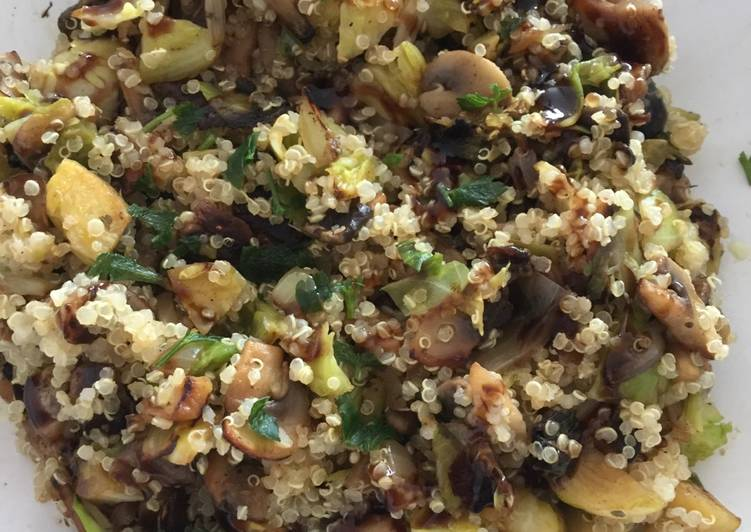 How to Prepare Ultimate Quinoa with brussel's sprouts & mushrooms