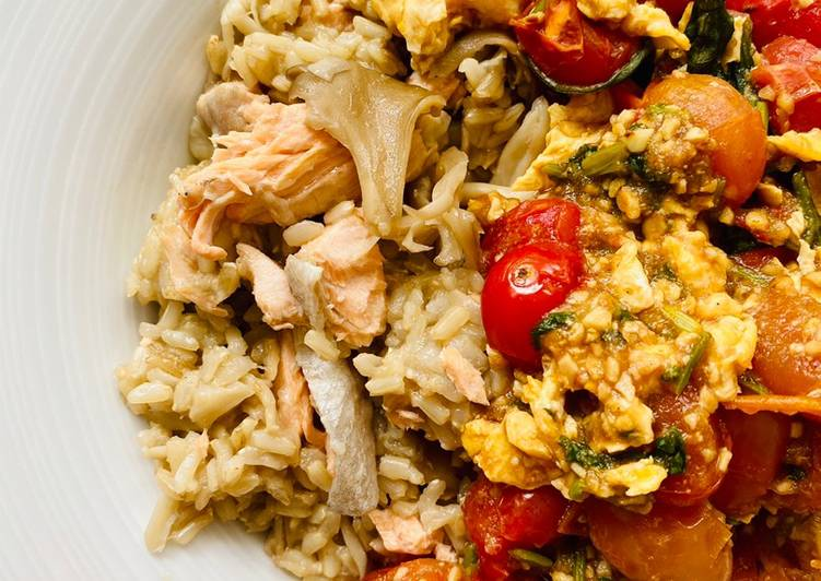 Mushroom Salmon Rice with Tomato Basil Eggs