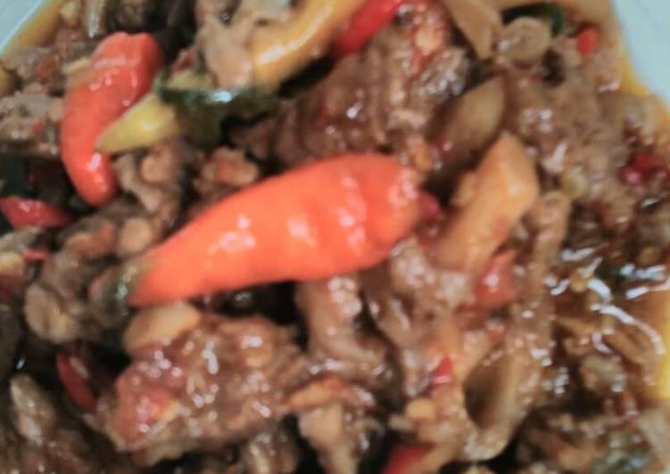 tumis jamur daging pedas