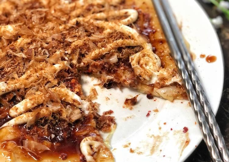 Cara Mudah Masak: Okonomiyaki (Japanese Pancake/Pizza)  Termudah
