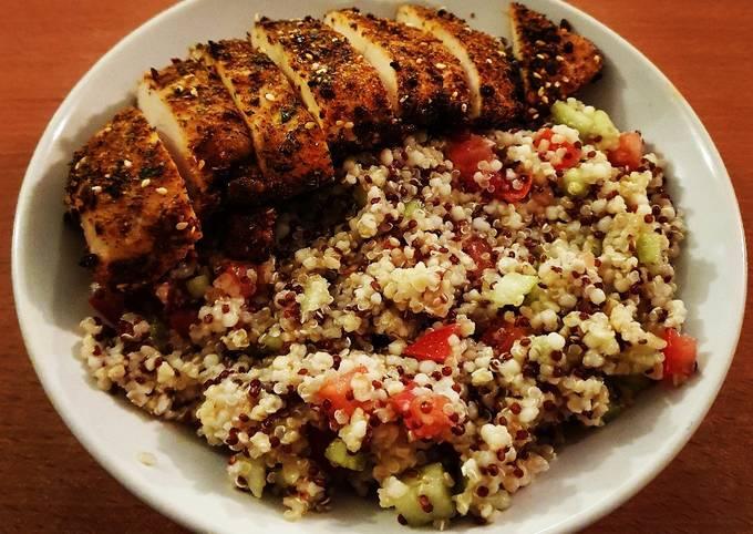 Poulet à la mexicaine et salade de quinoa