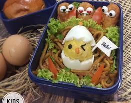 Bento tema ayam ide bekal anak - Chicken theme bento - bento anak - ide bento anak