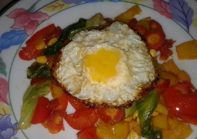 Roasted veggies with sunshine egg