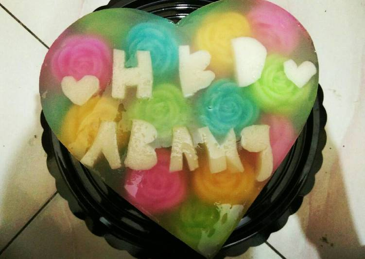 Pudding mawar kaca birthday