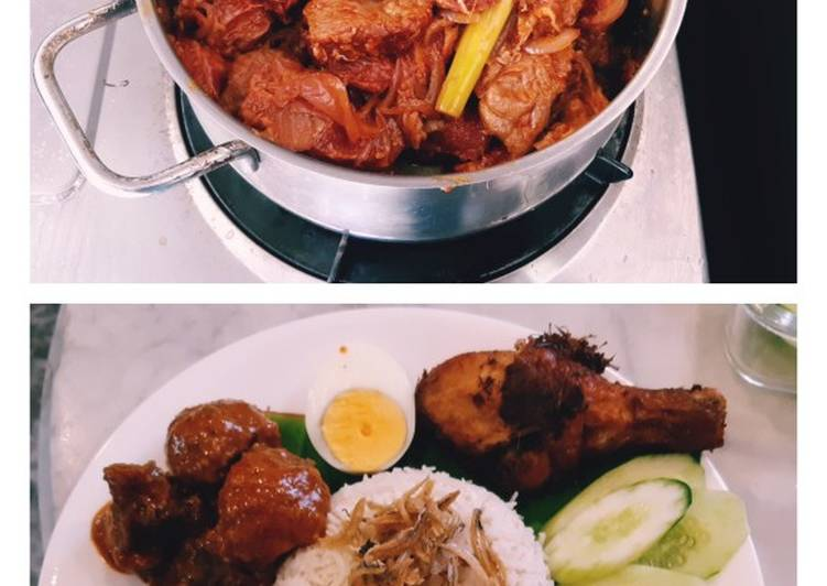 Rendang meat recipe for nasi lemak #mycookbook