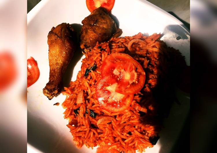 Easy Homemade Jollof Rice Served with Fried Chicken