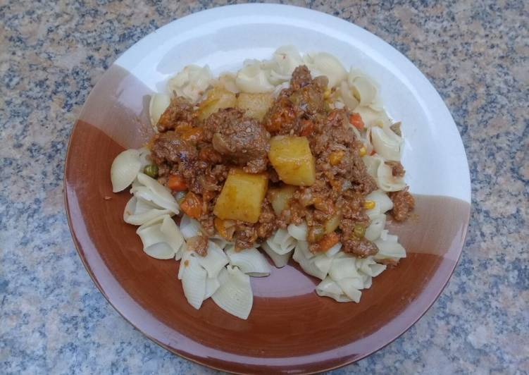 Recipe: Yummy This is my favourite dish love pasta with mince