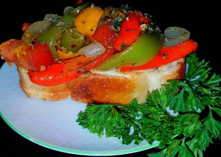 Mike's Garden Peperonata On Toasted French Bread