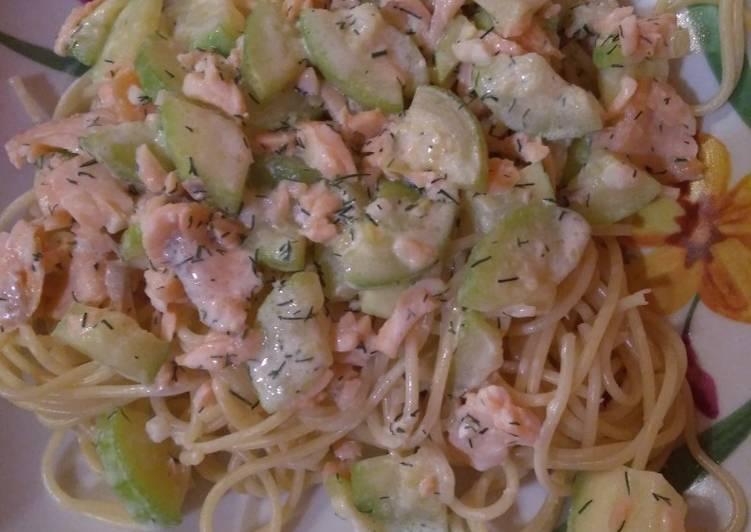 Spaghettis aux courgettes et saumon